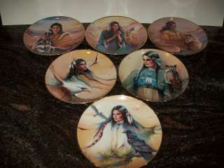FRANKLIN MINT PLATES NATIVE AMERICAN PRINCESS INDIAN BY MARIE