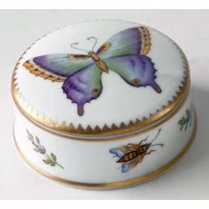 Anna Weatherley Purple Butterfly Small Round Covered Box W