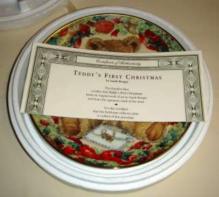 Sarah Bengry FIRST CHRISTMAS Teddy Bear Plate MIB/COA