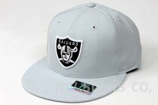 Oakland Raiders NFL Reebok Grey Black Fitted Caps NEW
