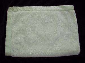 Pottery Barn Kids Green Chamois Silk Trim Baby Blanket