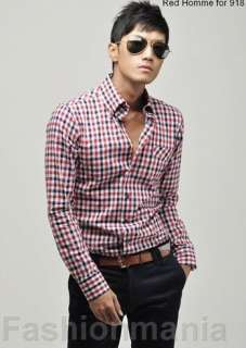 Mens Slim Fit Gingham Plaid Casual Stylish Shirt Z58