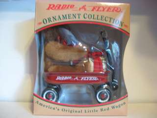 RADIO FLYER NIB Little Red Wagon Teddy Bear Christmas Ornament 1997