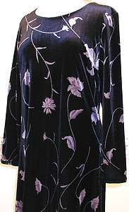 TALBOTS  womens M deep PURPLE VELVET floral DRESS evening wear