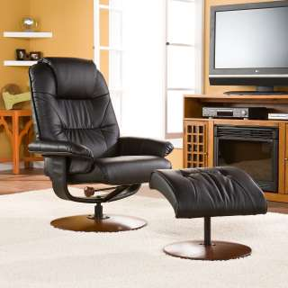 Recliner with Ottoman Black Leather Chair Seat Living Room SEI