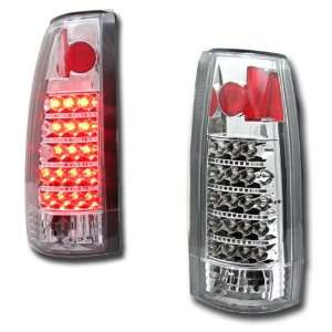 Chevy Silverado Led Tail Lights Chrome Clear LED Taillights 1988 1989