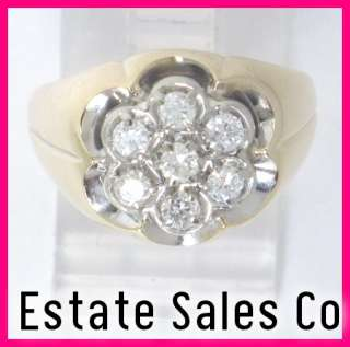 Mens 10ky Gold Round Diamond Cluster Pinky Ring .49 ct