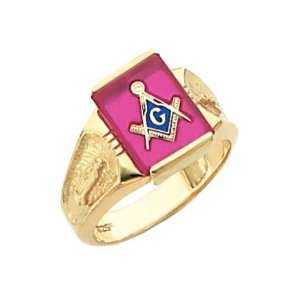 Mens Vermeil Masonic Freemason Mason Ring Rose Stone