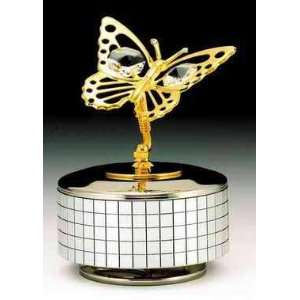 Butterfly Silver Gold Swarovski Crystal Music Box