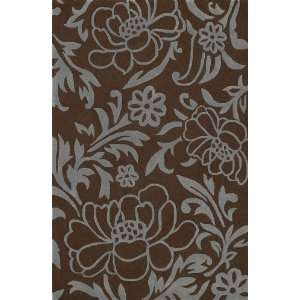 NEW Modern Wool Area Rug Brown 8ft Round Floral Leaf