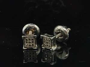 MENS LADIES BLACK GOLD FINISH WHITE DIAMOND PAVE STUDS EARRINGS PAVE