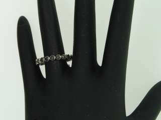 LADIES 0.23CT WHITE GOLD FINISH BLACK DIAMOND BAND RING