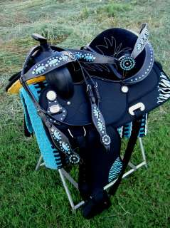 16 WESTERN HORSE CORDURA TRAIL BARREL PLEASURE SADDLE BLUE ZEBRA ALL