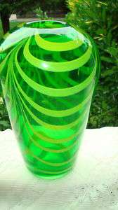 Vintage Art Deco Lime Green Swirl Blown Glass Vase