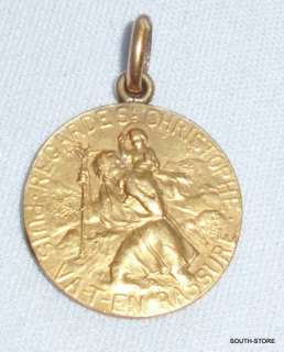 ANTIQUE ST CHRISTOPHER ART NOUVEAU FRENCH GOLD FILLED TAIRAC MEDAL