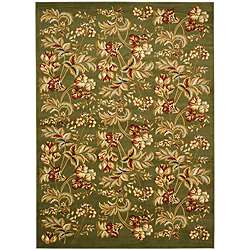 Lyndhurst Collection Floral Sage Rug (8 x 11)
