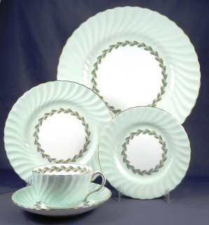 MINTON CHEVIOT GREEN S503 Complete 5 Pc Place Setting
