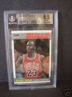 SCARCE 87 FLEER MICHAEL JORDAN 2ND YR BSKT CARD GRADED