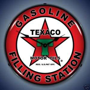 NEW TEXACO GAS FILLING STATION BACKLIT LIGHTED CLOCK