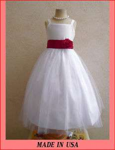 BABY WHITE SATIN WEDDING APPLE RED FLOWER GIRL DRESS