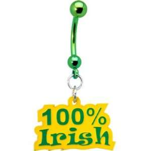 Handcrafted Yellow Green 100 Percent Irish Belly Ring Jewelry