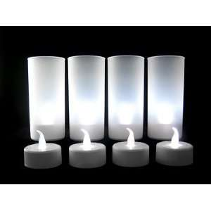 4 White Color LED Electronic Blowable Blow Out Candle