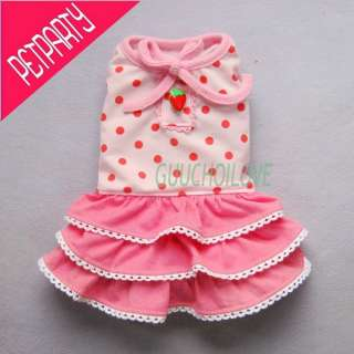Pink Sweetie Tiered For Dog Clothes Pet Dress Mini Skirt Dots Free