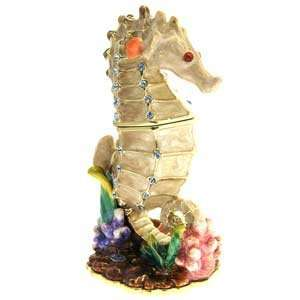 Swarovski Crystal, Enamel SEA HORSE Keepsake Box Gift Boxed Jewelry