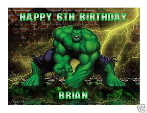 Incredible Hulk edible cake image topper frosting sheet
