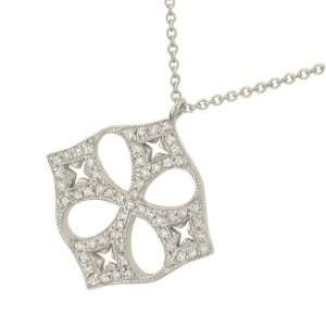 Ladies Fancy Pave Diamond Cross Pendant on Chian .20ct