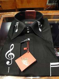 AXXESS HIGH COLLAR SHIRT BLK WHITE MUSICAL NOTE FRENCH