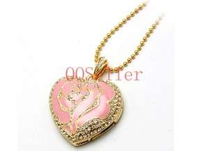 Jewel Pink Rose Heart Necklace Usb Flash Drive Flash Memory 16G