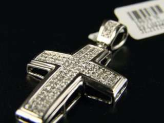 10K MENS LADIES MINI DIAMOND CROSS CHARM PENDANT .85 CT