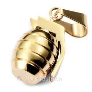 MEN Gold Stainless Steel Grenade Pendant Necklace vj811