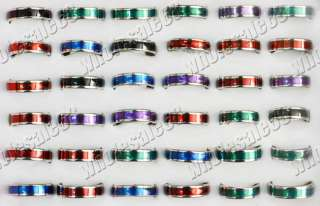 Wholesale Lot 50pcs mixed colour Stainless steel Rings