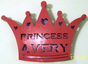 Princess Crown CUSTOM NAME Wall Hanging Metal Art Sign
