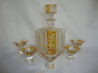 BOHEMIAN YELLOW GLASS DECANTER SET GRAPE CLUSTERS