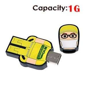 USB Flash Drive with Rubber Robot Doctor Shape (Yellow) Electronics
