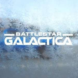 Battlestar Galactica Text Logo White Decal Window White