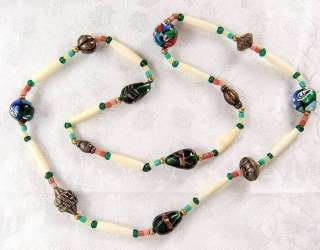 Long Vintage Italian Lampwork Art Glass Beaded Necklace