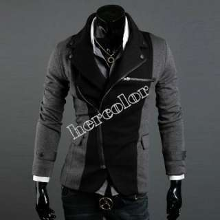 2012 New Mens Fashion Slim Fit Designed Coat Jacket Black Gray Oblique