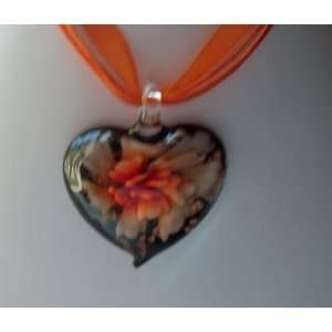 Fashion Jewelry ~ Murano Glass Orange Heart Flower Pendant