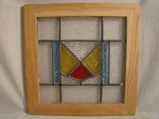 Antique ENGLISH Old ART DECO Geometric Shape STAINED Leaded GLASS
