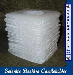 Beehive Snow White Selenite Candle Holder New Incense Resin Burner 2