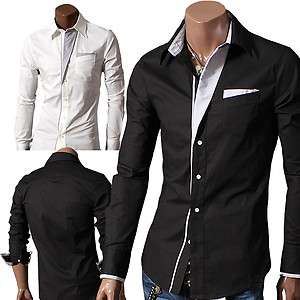 Doublju1 Mens Casual Patch Point Slim dress shirts BLACK/WHITE (DS41
