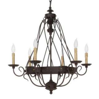 Hampton Bay Glasgow 6 Light Hanging Burnt Sienna Chandelier 12111 022