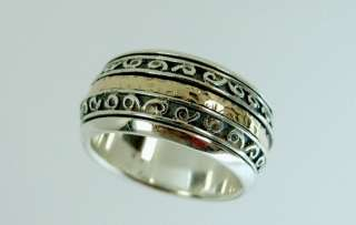 14k Gold Silver Wedding Spinning Ring Size 8.5