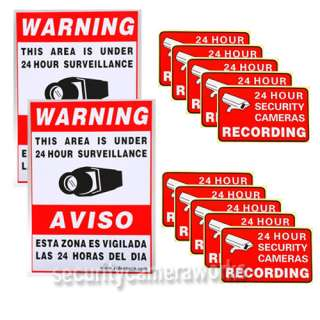 Surveillance Security Camera Video Sticker Warning Decal Signs BKG
