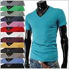VS01) THELEES Mens Casual Slim Fit V neck Short Sleeve Tshirts