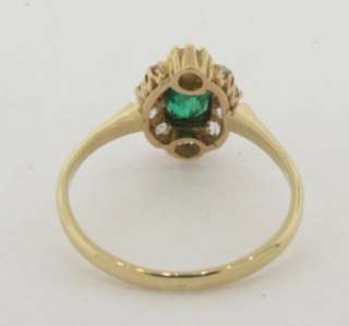 Antique Art Deco Emerald & Diamonds 18k Gold Ring